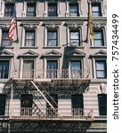 new york building with external ... | Shutterstock . vector #757434499