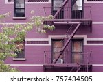 fire escape stairs mounted to... | Shutterstock . vector #757434505