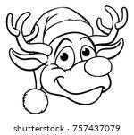 Cartoon Reindeer In A Santa...