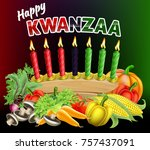 a happy kwanzaa candles and... | Shutterstock .eps vector #757437091