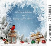 christmas greeting background... | Shutterstock . vector #757438885