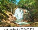 pongour waterfall. a famous...   Shutterstock . vector #757439197
