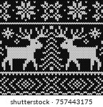 jacquard seamless pattern with... | Shutterstock .eps vector #757443175