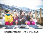 group of friends talking and... | Shutterstock . vector #757443565