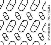 line pharmaceutical pill drug... | Shutterstock .eps vector #757446361