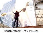 a successful businessman raises ...   Shutterstock . vector #757448821