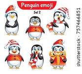 vector set of christmas penguin ... | Shutterstock .eps vector #757466851
