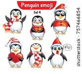 vector set of christmas penguin ... | Shutterstock .eps vector #757466854