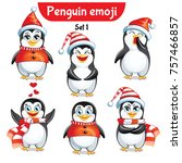 vector set of christmas penguin ... | Shutterstock .eps vector #757466857