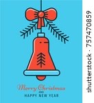 christmas and new year greeting ... | Shutterstock .eps vector #757470859