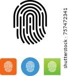 human fingerprint   thumb print ... | Shutterstock .eps vector #757472341