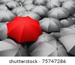 3d render of sea of umbrellas | Shutterstock . vector #75747286