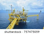 offshore construction platform... | Shutterstock . vector #757475059