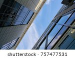 modern office buildings with... | Shutterstock . vector #757477531
