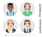 call center operator icons.... | Shutterstock .eps vector #757488199