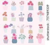 vintage pink spring summer... | Shutterstock .eps vector #757489339