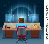 hacker working on a code on... | Shutterstock .eps vector #757491391