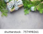 christmas background in gray... | Shutterstock . vector #757498261