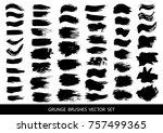 set of black paint  ink brush... | Shutterstock .eps vector #757499365