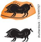 ancient greek ceramic style...   Shutterstock .eps vector #757499707