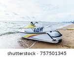 boats  scooters parked waiting... | Shutterstock . vector #757501345