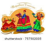 rajasthan culture pop color... | Shutterstock .eps vector #757502035
