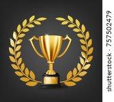 realistic golden trophy with... | Shutterstock .eps vector #757502479
