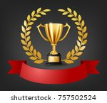 realistic golden trophy with... | Shutterstock .eps vector #757502524