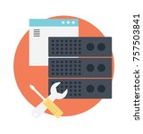 maintenance tools with server... | Shutterstock .eps vector #757503841