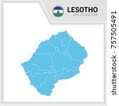 lesotho map and flag in white... | Shutterstock .eps vector #757505491