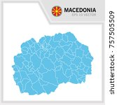 macedonia map and flag in white ... | Shutterstock .eps vector #757505509