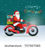 retro red motorcycle with santa ... | Shutterstock .eps vector #757507585