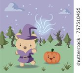 bear wearing halloween costume... | Shutterstock .eps vector #757510435