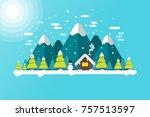 winter lanscape background... | Shutterstock .eps vector #757513597