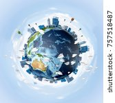 panoramic view of earth globe... | Shutterstock . vector #757518487