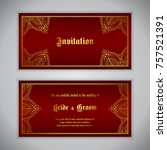 luxury wedding invitation with... | Shutterstock .eps vector #757521391