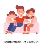 happy family together. mom  dad ... | Shutterstock .eps vector #757526014
