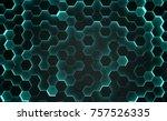 3d render background hexagons... | Shutterstock . vector #757526335