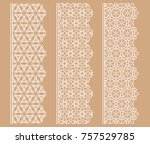 vector set of line borders with ... | Shutterstock .eps vector #757529785