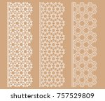vector set of line borders with ... | Shutterstock .eps vector #757529809