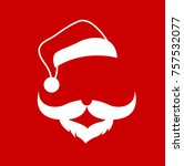 santa clause face hat and beard ...   Shutterstock .eps vector #757532077