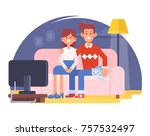 happy couple together sitting... | Shutterstock .eps vector #757532497