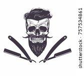 bearded skull vector... | Shutterstock .eps vector #757534861