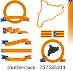 vector graphic ribbons flags... | Shutterstock .eps vector #757535311
