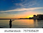sunrise at the port of chania... | Shutterstock . vector #757535629