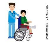 doctor attending to patient... | Shutterstock .eps vector #757538107