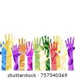 silhouette of hands raised... | Shutterstock .eps vector #757540369