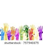 silhouette of hands raised... | Shutterstock .eps vector #757540375
