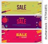 memphis style banner design set ... | Shutterstock .eps vector #757541851