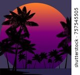 palm trees on the background of ... | Shutterstock .eps vector #757545505